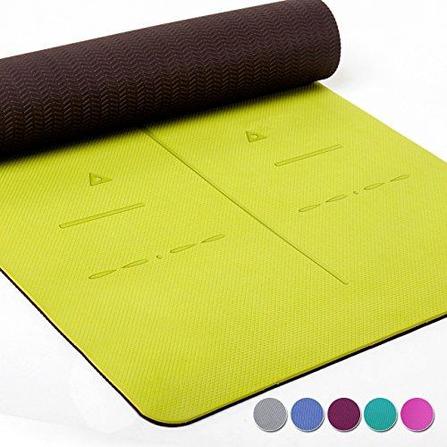 Heathyoga Yogamatte Pro, Ausrichtungs-System, Umweltfreundliche und hypo-allergene TPE-Matte, weich und rutschfest, ideal für alle Yoga-Lehrer und Yogis, In vielen Farben erhältlich. Maße: 183 x 65 x 0,6 cm (Grünes Gras Mat)
