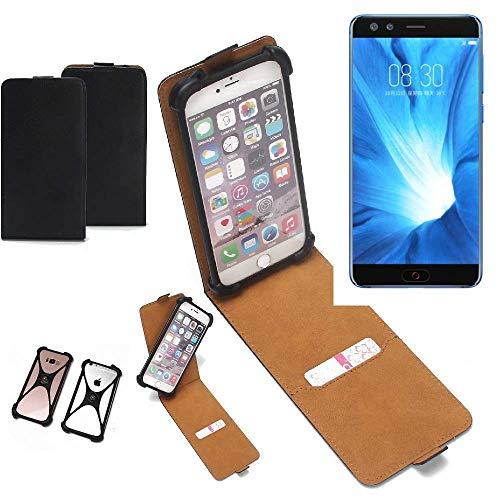 K-S-Trade Flipstyle Case für Nubia Z17 Mini S Schutzhülle Handy Schutz Hülle Tasche Handytasche Handyhülle + integrierter Bumper Kameraschutz, schwarz (1x)