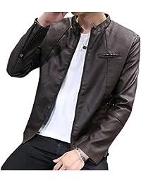 LaoZan Uomo Slim Fit Cappotti Giacchetta Basic Biker Giacche in Pelle PU  Cappotto Capispalla df697299a75