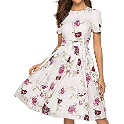 Vestidos Largos Mujer, JiaMeng Vestido Vintage Floral Elegante Vestido de Noche Midi 3/4 Mangas Casual Sudadera Slim Fit Mini Vestidos (S, Blanco#2)