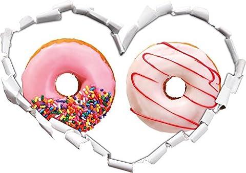forme de coeur glacé Donuts dans le regard 3D, mur ou une porte autocollant Format: (Fragola Caffè Aromatizzato)