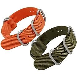 MetaStrap 2Pcs 20mm Nylon Strap ZULU Watch Band (Army Green / Orange)