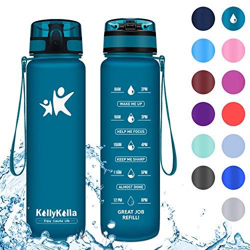 KollyKolla Trinkflasche - BPA-frei Auslaufsicher Sport Wasserflasche, 1l Tritan Sportflasche Kohlensäure Geeignet Kunststoff mit Filter für Kinder, Schule, Baby, Fahrrad, Gym, Büro, Saphir