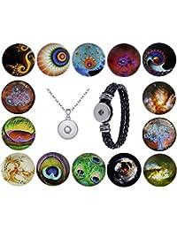 Morella Damen Click-Button Set 14 Druckknöpfe Galaxienwelt mit Halskette Edelstahl 70 cm und Armband