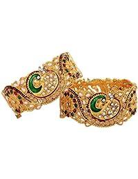 Aabhu American Diamond Peacock Design Kundan Pearl Studded Antique Gold Plated Bangle Kada Bracelet Set Jewellery...