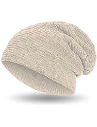Compagno warm gefütterte Beanie Wintermütze sportlich-elegantes Flechtmuster mit weichem Fleece-Futter Mütze