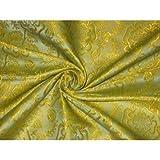 Seide Brokat Stoff gelb Farbe 111,8cm by the Yard
