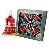 Dekohelden24 Lauschaer Christbaumschmuck - 4er Set Glocken glänzend in rot mit Dekor, 7 cm, mit goldenem Krönchen + 50 Schnellaufhänger in Gold GRATIS zu Ihrer Bestellung dazu !