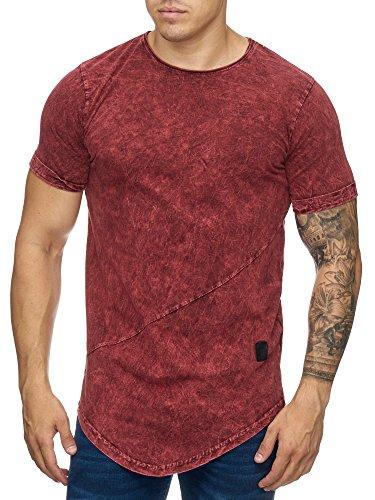 OneRedox Herren Shirt Hoodie Longsleeve Kurzarm Shirt Sweatshirt T-Shirt 9033 Bordo M
