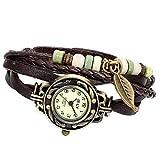 Avaner Damenuhr Lederuhr handgefertigt Vintage mit Lederband Armbanduhr Baum Blatt Damen Frauen Mädchen Leder Seil Geflochten Armband Uhr Quarzuhr