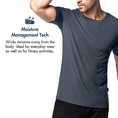 Lapasa 2er Pack Herren T-shirts - SUPER WEICHES MICRO MODAL - Business kurzarm Unterhemd mit Rundhalsausschnitt Für Männer M07 Grau