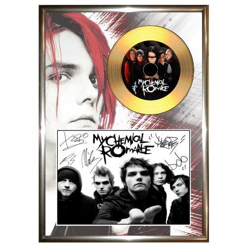 My Chemical Romance (2)-firmato Framed Gold vinyl record CD & foto display