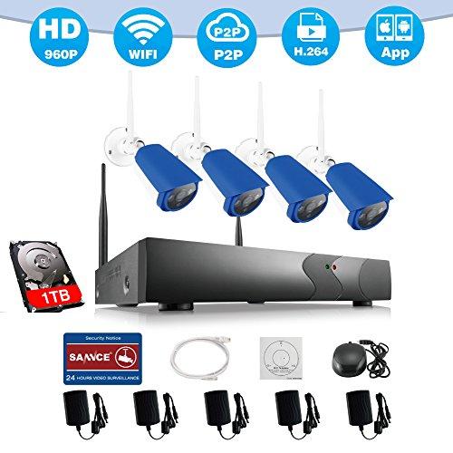 SANNCE Kit Videosorveglianza wifi NVR 1080P 4 Canali 4 Wireless Camera IP 960P Videocamera Sorveglianza Kit Sorveglianza Wireless H.264 P2P Avviso E-mail Dual Stream Manuale Italiano con 1T HDD (Bianco e Blu)