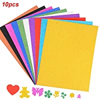10 X Glitter A4 Pad - Self Adhesive Glitter Foam Sheets for Scrapbooking, Xmas Card Making, Home Décor, Party Crafts -Multicolors