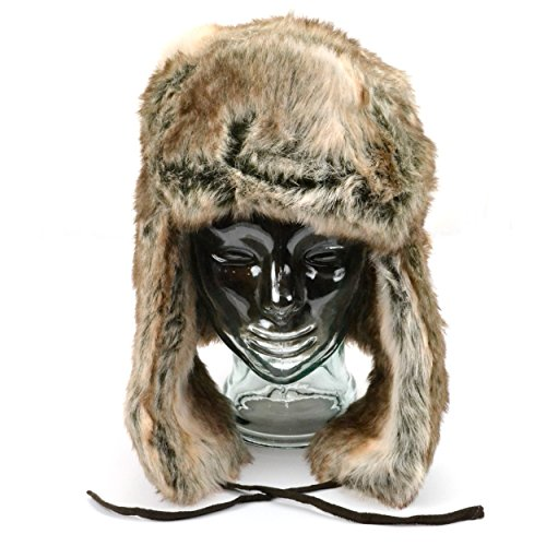 Russian style silver brown mix faux fur trapper hat with chin tie
