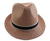 Toruiwa 1X Strohhut Unisex Sonnenhut mit Blume decor Breiter Krempe Hut Strand Hüte Anti UV Hut für Frühling Sommer Urlaub Strand Garten (Rosa)