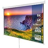 Pantalla de proyección Enrollable, 178 x 178 cm, Pantalla Diagonal 113'', de Color Blanco, Pantalla para proyector, Accesorio para proyectores, Longitud Ajustable