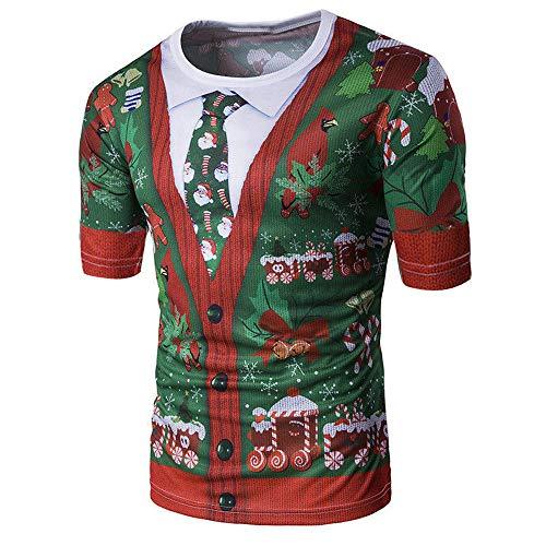 Bcfuda Uomo Camicia Felpa Maglietta Corta T-Shirt con Stampa Unisex di  Natale Fruit of 6a05a31fd13