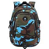 Comfysail Camouflage Gedruckt Unisex Schulrucksack Rucksäcke Freizeitrucksack für Reise Wandern Camping Schule Bergsteigen Wandern (Blau, Large)