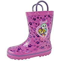 Paw Patrol Rubber Wellies Pull On Handles Girls Snow Rain Wellington Boots Size UK 5-11.5