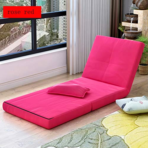 Faltbarer Sofa-Stuhl Verstellbarer, fauler Stuhl mit abnehmbarem Bezug, bequemer Schwammsitz, Stahlrahmen, eingebauter Federmechanismus (Farbe : Rose rot)