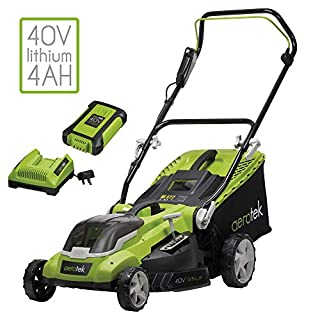 Aerotek Cordless Lawnmower 40V Lithium-Ion 4Ah Battery & Charger Included Cutting Width 40cm Series X2