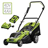 Aerotek Cordless Lawnmower 40V Lithium-Ion Battery & Charger Included Cutting Width 40cm |
