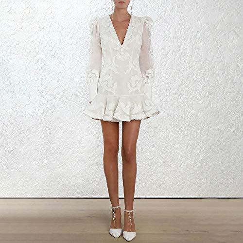 QUNLIANYI Kleid Spitze V-Ausschnitt Lange Puff Ärmel Spitze Trim Bestickt Weiß Kleid Frauen Rüschen Saum Meerjungfrau Kleid L -