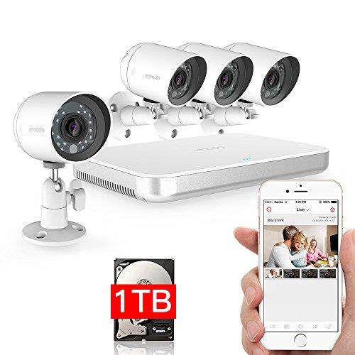 DXP Zmodo 720P HD Sicherheitskamera System Mini Kit 4 channel G2 sPoE mit 4 Mini Indoor / Outdoor IP-Kamera Smartphone QR-Code scannen Schnell Remote View 1TB HDD