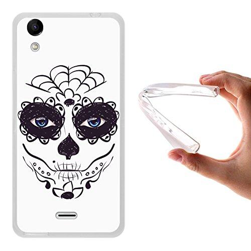 WoowCase Wiko Rainbow Up Hülle, Handyhülle Silikon für [ Wiko Rainbow Up ] Zuckeriges Skelett mit Make-up Handytasche Handy Cover Case Schutzhülle Flexible TPU - Transparent