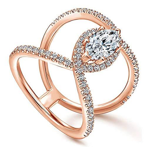 BQZB Ring Voller Mantel Ring Damen Doppel C Wort Ring Silber Zirkonia Frauen Kreuz Ring -