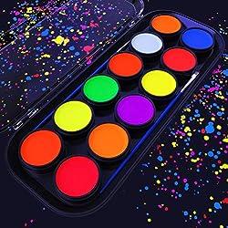 Pinturas de luz negra para maquillaje fluorescente de Arteza - Set de 12 colores que brillan en la oscuridad, paleta de pintura corporal y facial