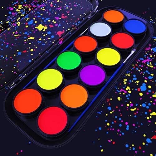ARTEZA UV-Bodypaint | 12 Körpermalfarben | Schwarzlicht Fluoreszierende und Neonfarben Leuchtfarben | Körperfarbe auf Wasserbasis | Ideal als Schminke und für ()