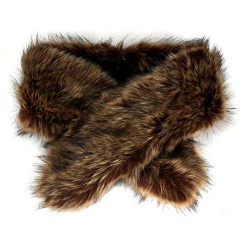 LHWY Winter-Faux Pelz Kragen Schal Schal Kragen Frauen Wrap Stola Schals (Faux-pelz-fransen)