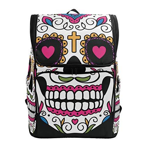 Jeansame Rucksack Schultasche Laptop Reisetasche Halloween Totenkopf Blumen Blumen für Kinder Jungen Mädchen Frauen Männer (Für Halloween-bücher Gute Erwachsene Junge)
