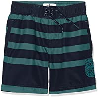 Fat Face Boy's Stripe Swim Shorts, Green (Pea), 12-13 Years (Manufacturer Size: 12-13)