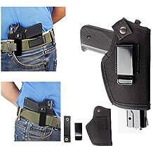 iwb funda pistola táctica pistola Glock 171923262743m & P Shield 9mm Clip para el cinturón BERETTA 92Universal 1911compacto cinturón izquierda mano derecha Springfield XDS Ruger LCP Concealed Carry con clip, negro