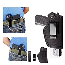 IWB Holster Gun Pistol Tactical Glock 17 19 23 26 27 43 M&P Shield 9mm Belt Clip Beretta 92 Universal 1911 Compact Belt Left Right Hand Springfield XDS Ruger Lcp Concealed Carry With Clip