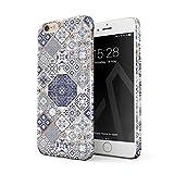 BURGA Hülle Kompatibel mit iPhone 6 Plus / 6s Plus Handy Huelle Licht Blau Weiß Mit Gold Marmor Marble Muster Moroccan Tiles Mosaik Dünn, Robuste Rückschale aus Kunststoff Handyhülle Schutz Case Cover