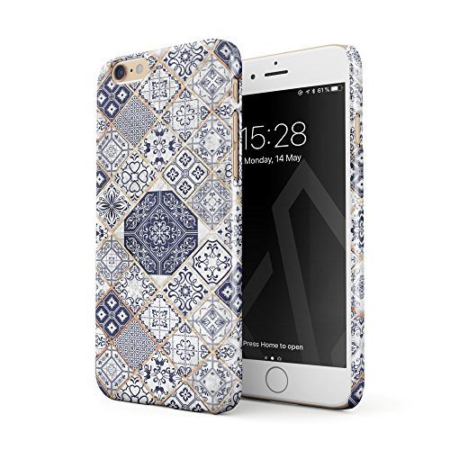 BURGA Phone Case Compatible With iPhone 6 / 6s, Tranquil Waters White Gold Marble Blue Moroccan Tiles Pattern Mosaic Thin Design Durable Hard Plastic Protective Case