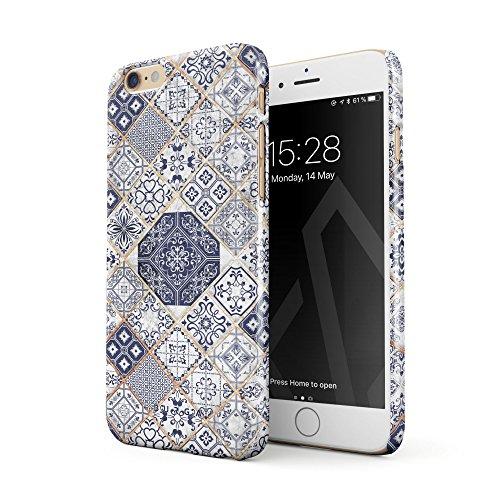 BURGA Hülle Kompatibel mit iPhone 6, iPhone 6s Handy Huelle Licht Blau Weiß Mit Gold Marmor Marble Muster Moroccan Tiles Mosaik Dünn, Robuste Rückschale aus Kunststoff Handyhülle Schutz Case Cover