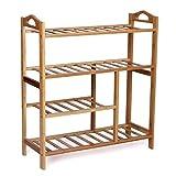 woodluv 4-Tier Natural Bamboo Wooden Shoe Rack Shelf Holder Storage Organizer