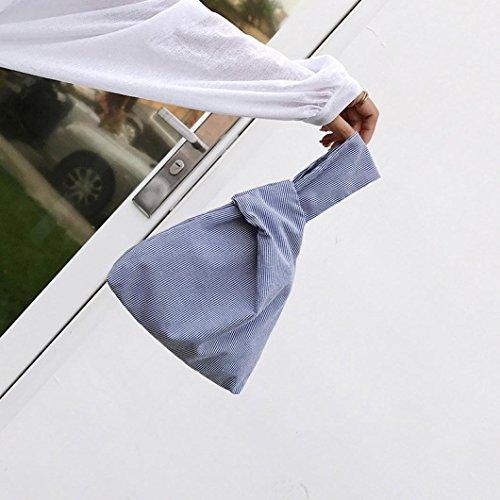 la borsa di tela mano , Longra Sacchetto della tela di trasporto del sacchetto della tela di canapa piccolo piccolo fresco Blu