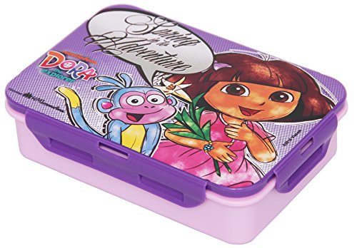 Nickelodeon Dora Plastic Lunch Box Set, 3-Pieces, Multicolour (HMRPLB 60304-DR)