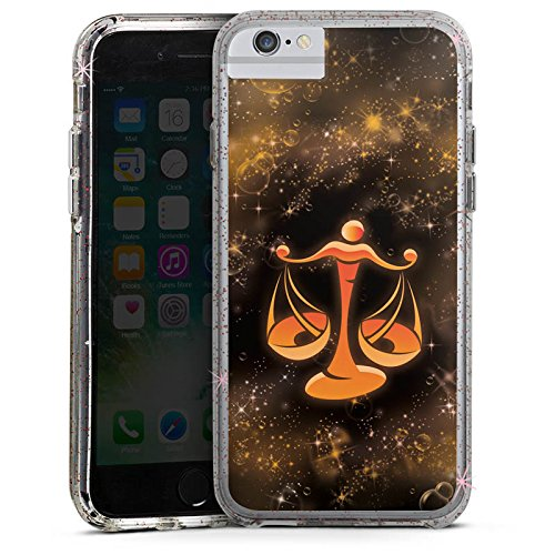 Apple iPhone 6 Bumper Hülle Bumper Case Glitzer Hülle Sternzeichen Waage The Scales Bumper Case Glitzer rose gold