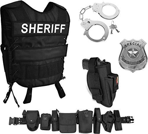 normani Sheriff Kostüm Set - Verkleidung bestehend aus taktischer Weste mit Patch, Abzeichen, Handschellen, Koppel Größe ()
