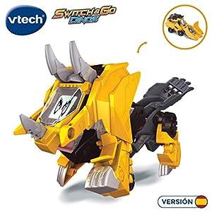 VTech- Tino, el tricerátops bólido Dinosaurio electrónico Interactivo transformable en Coche con Voz, Funciones, mas de 60 Sonidos y Frases. (3480-195122)