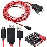 KSRplayer - Cable adaptador con conexión MHL Micro USB con 11 pines a HDMI, 1080p HDTV, para Samsung Galaxy S5, S4, S3, Note 3, Note 2, Tab 3 8.0, Tab 3.10.1, Tab Pro, Note 8, Note Pro 12.2, 1,98 m
