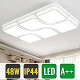 HG 48W Wohnzimmerlampe Deckenleuchte Led Kaltweiß IP44 Modern Design Weiß Schlafzimmer Leuchte Rechteckig Büros Wohnzimmer Lampe Kinderzimmer[Energieklasse A++]