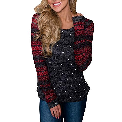 mxjeeio Damen Sweatshirts Langarm Weihnachten Schneeflocken Dot Prints -
